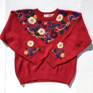 Vintage 90s Floral Embroidery Pullover Sz M